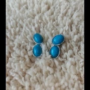3/$20 Turquoise Silver Clip on Statement Earrings